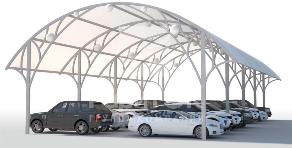 Автомобильный паркинг с полукруглой крышей